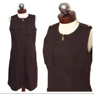 TORY BURCH military cotton zip front dress M